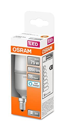 Osram Lampada LED, Attacco: E14, Cool Daylight, 6500 K, 10 W, sostituzione per 75 W Incandescent bulb, opaco, LED STAR STICK ,Confezione da 6