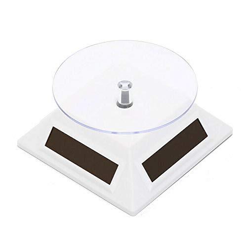 Buzzfashionfashion 1 x espositore Girevole Elettrico a 360 Gradi Piatto Girevole per Lo Spettacolo di Fotografia, Display del Prodotto Solare o Alimentato a Batteria AAA Bianco Quadrato