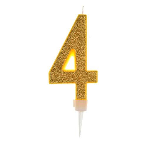 Vela De Cumpleaños 17,5cm Vela Gigante Glitter Oro, Adecuado para Fiestas De Cumpleaños, Aniversarios De Bodas, Fiestas De Jubilación, Etc. Numero 4