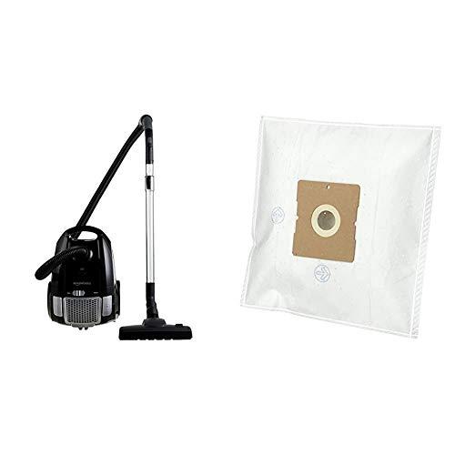 Amazon Basics – Potente Aspirador con Bolsa, para Suelos Duros y alfombras, Filtro HEPA, Control de Velocidad, 700W, 3,0l (UE) - Bolsas para aspiradora W11 con Control de Olor - Pack de 4
