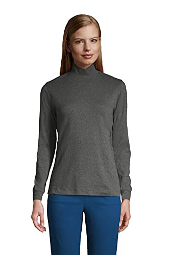 Lands' End Women Long Sleeve Relaxed Cotton Mock Charcoal Heather Petite X-Small
