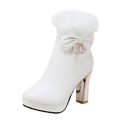 MOTOCO Damen Stiefel Mode Einfarbig Plus Samt Lace Frauen Booties Hoher Absatz Schuhe Booties(36 EU,Weiß)