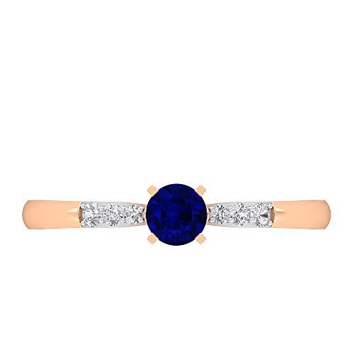 Anillo de compromiso de zafiro azul, anillo de diamante HI-SI, anillo solitario de oro con piedras laterales, (zafiro azul de 4 mm), 14K Oro rosa, Size:EU 51