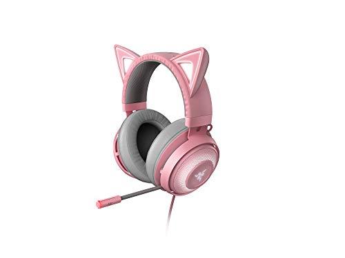 Razer Kraken Kitty - Auriculares para juegos, tipo oreja de gato con iluminación cromática RGB, micrófono con reducción activa de ruido, audio espacial THX, controles en el auricular, Rosa (Quartz)