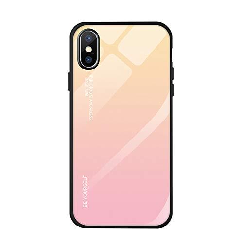 Langhuadd iphone XS Hülle, iphone XR/XS max Handyhülle Gehärtetes Glas Zurück mit Weichem TPU Silikon Rahmen Handyhülle Farbverlauf Farbe Case Schutzhülle. (Gelb + Pink, iPhone XS)