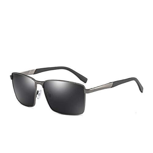 HAOMAO Gafas de Sol cuadradas polarizadas con Montura metálica para Hombre, Gafas de conducción para Pesca, Sombras, Pistola Uv400