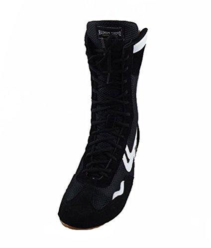 SF Wrestling Shoes Boxing Boots Rubber Sole Combat Training Shoes for Men&Women&Children Kids Black