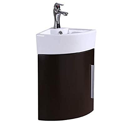 Corner Wall Mount Vanity Sink, Compact White Sink With Dark Oak Vanity, Scratch And Stain Resistant Finish, Heavy Duty Grade A Vitreous China Built, Faucet And Drain Included, Renovators Supply