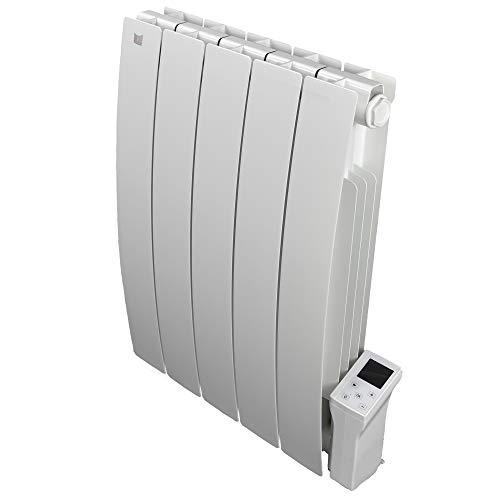 Radiatore Elettrico Smart Wi-fi Deltacalor Caldo 900W | Termosifone Termoconvettore Parete a Basso Consumo con Termostato Digitale Wi-fi | Riscaldamento stanze fino a 10mq | Alluminio, Bianco