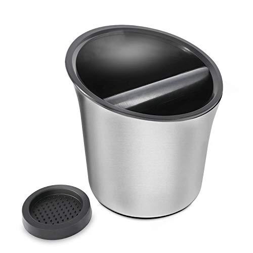KYONANO Abklopfbehälter, Abschlagbehälter Siebträger Zubehör, Hochwertiger Metall Abklopfbehälter für Siebträger, Knock Box, Espresso Abklopfbehälter, Abschlagbox für Kaffeesatz inkl. Silikonmatte