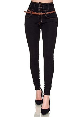 Elara Damen Jeans Skinny High Waist Hose mit...