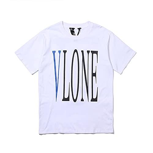 ASDF VLONE T-Shirt Herren und Damen Kurzarm Casual Buchstaben mit Rundhalsausschnitt aus Baumwoll,White,X