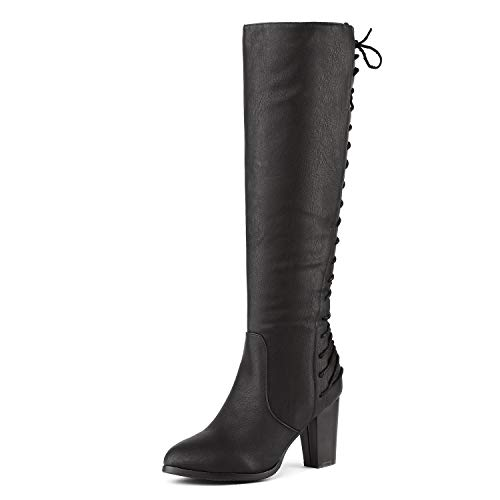 DREAM PAIRS Women's MIDLACE Black PU Over The Knee High Boots Size 7.5 B(M) US