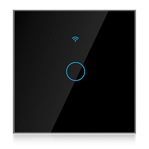 Control de uso compartido a prueba de agua Interruptor de pantalla táctil WiFi Panel de interruptores Wifi para Alexa y Google Home(black, European regulations)