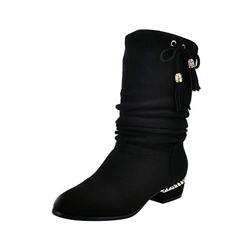 Ansenesna Stiefeletten Damen Mit Absatz Elegant Winter Schuhe Frauen Mädchen Wildleder Mode Vintage...