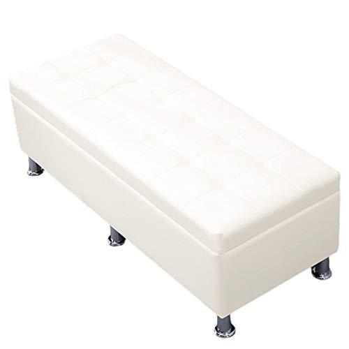 Reposapiés con almacenamiento Sofá rectangular Zapato Cambio de taburete Fin de cama Multifuncional Almacenamiento Almacenamiento Taburete Vestidor Taburete ( Color : White , Size : 70CMX30CMX35CM )