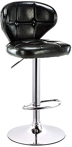 WENLI Taburetes de bar ajustables, silla de bar, taburete alto, silla de respaldo, libre para girar (63 – 83 cm) sillas de barra (color: negro, tamaño: 38,5 cm)