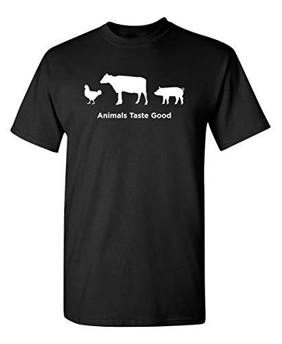 Animals Taste Good Graphic Novelty Sarcastic Funny T Shirt XL Black