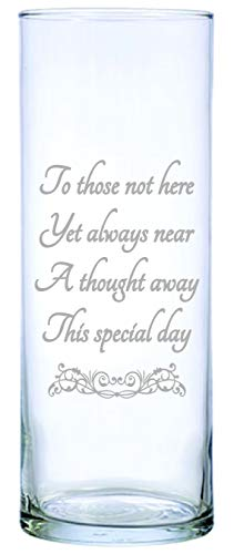 """IE Laserware for Those not here, 9"""" Memorial Candle Beautifully Etched. Comes Complete with 3"""" White Floating Candle, just add Water and Light The Wick"""