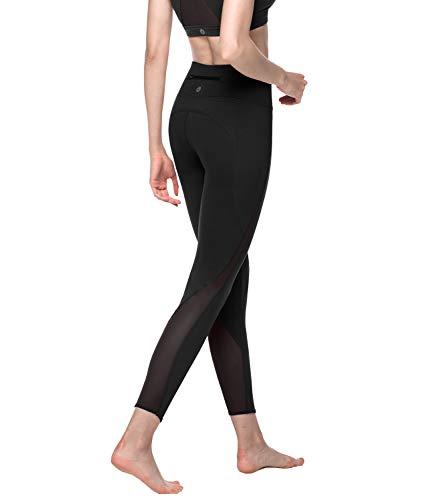 LAPASA Damen Leggings, Sport Leggins, Push Up/High Waist/mit Taschen/Lang/Bauchweg, 1 bis 2er Pack MEHRWEG L01 (Schwarz, XL)