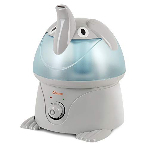 Crane Adorables Ultrasonic Cool Mist Humidifier, Filter Free, 1 Gallon, 500 Sq Ft Coverage, Whisper Quite, Air Humidifier for Plants Home Bedroom Baby Nursery and Office, Elephant