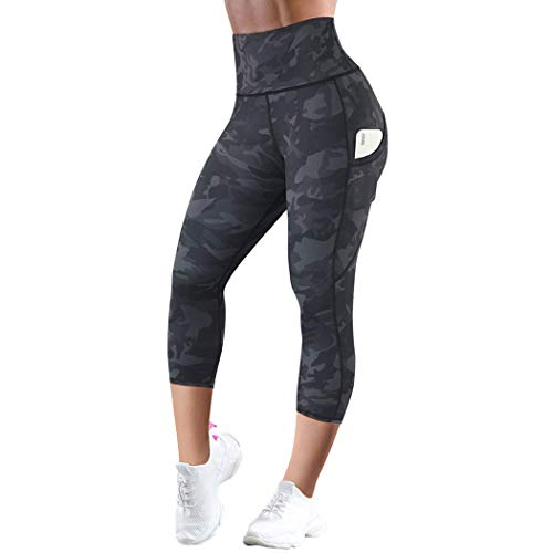 SUUKSESS Camo Capri Leggings with Pockets High Waisted Workout Pants for Women (Camouflage, S)