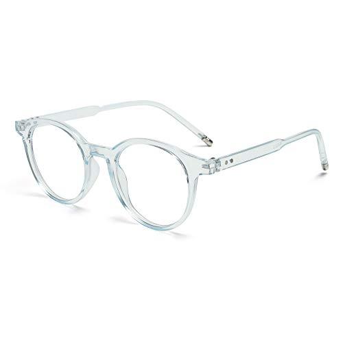 Fashion Vintage Ultraleichte runde Strahlenschutzbrille mit blauem Licht, blockierende Brille für Computerspiele, flache Spiegelbrille (blau)