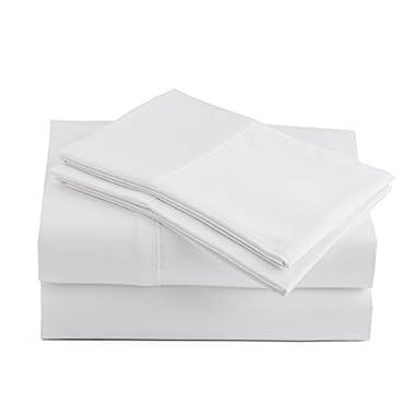 Peru Pima 415 Thread Count - 100% Peruvian Pima Cotton - Percale - Bed Sheet Set (Queen, White)