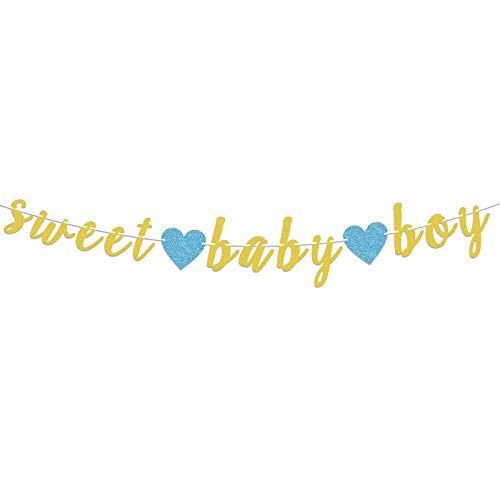 LASKYER Sweet Baby Boy Gold Glitter Garland Banner with Blue Heart Perfect for Baby Shower Sweet Baby Boy Birthday Party Decorations.
