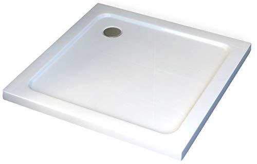 Vierkante douchebak - 100 x 100 cm en afvoersysteem