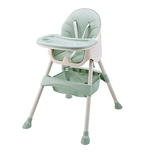NSWDC Silla de bebé Ajustable, Trona para bebé/con Doble Bandeja extraíble y de 5 Puntos de Seguridad/ergonómico/cómodo/fácil de Limpiar,Verde