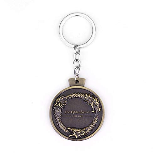 ZYLL Online Game The Elder Scrolls Ouroboros Pendant Keychain Tes Skyrim Bronze Game Key Ring Chain Jewelry Gift For Man
