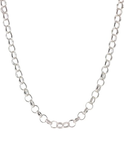 925 Sterling Silver Nickel-Free 3.2MM Rolo Round Cable Link Chain-Made in Italy-16
