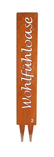 """tradeNX """"Wohlfühloase-Gartenstecker aus Metall in Edelrostoptik – Wetterfestes Gartenschild – Gartendekoration im Vintage-Look"""