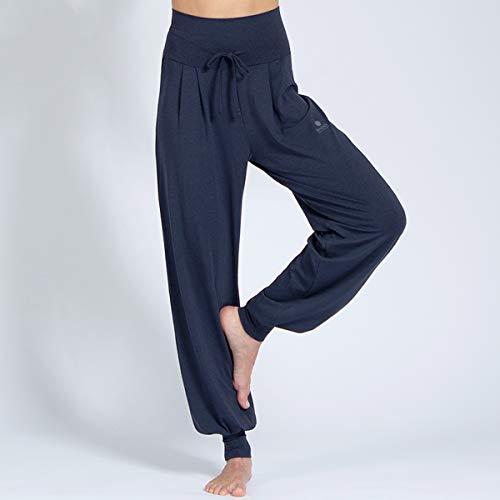 Magadi Yoga-Hose Florence Navy für Damen mit Bio-Baumwolle, Lange Damen Sporthose für Yoga, Pilates, Gym, nachhaltig und fair