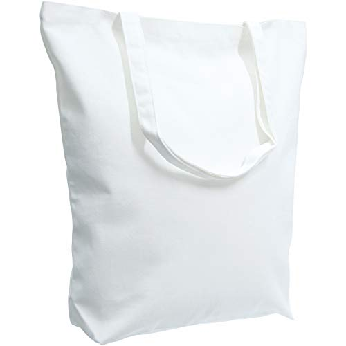 TOPDesign 96-Pack Super Strong Large 17″x16″x5″ 10oz Cotton Canvas Tote Bag, Reusable Grocery Shopping Bags, Blank White Bags for Crafts, DIY Your Creative Designs