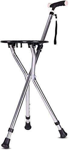 Bastón Bastones plegables Bastón plano plegable con manija ergonómica 4 niveles de altura ajustable para hombres Mujeres Artritis Personas de la tercera edad Discapacitados y ancianos Bastón con 3 p