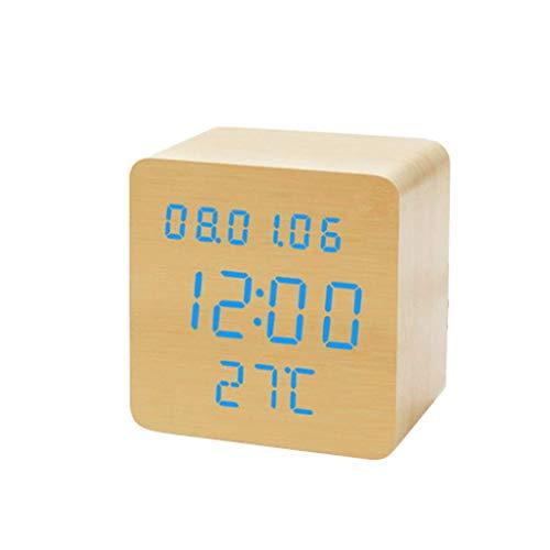 ZCZZ Reloj de Mesa, Reloj Despertador Digital LED de Madera, pequeño Reloj Despertador Luminoso y silencioso Junto a la Cama, Pantalla de Temperatura y Reloj de Mesa con Calendario perpetuo