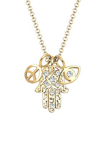Elli Halskette Damen Hamsa Peace Evil Eye mit Swarovski® Kristalle in 925 Sterling Silber vergoldet