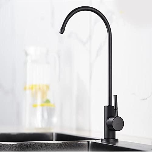 Grifos de cocina negros de acero inoxidable, grifo de agua potable directo para fregadero de cocina, grifo purificador anti-ósmosis de agua potable