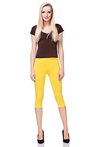 FUTURO FASHION - Leggings mit 3/4-Länge - Baumwolle - extra bequem - Übergrößen - Gelb - 40 (L)