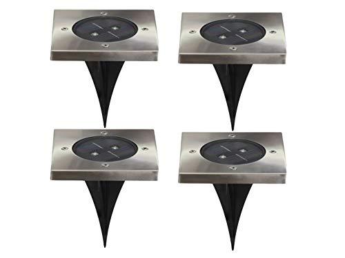 Ranex 4er-Set LED Solar Bodeneinbaustrahler TORINO, 4-eckig, IP44; 5000.406