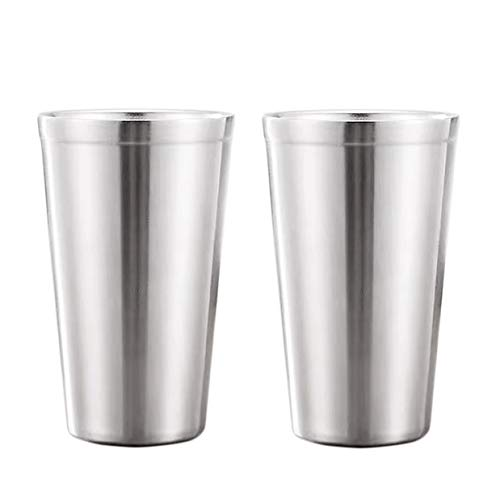 Tazas con aislamiento de doble pared de acero inoxidable (juego de 2) apilables, taza de café/té/vasos de cerveza escalofriantes, para viajes, al aire libre, camping y todos los días, 16 oz (480 ml)