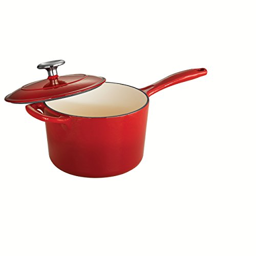 Tramontina 80131/061DS Enameled Cast Iron Covered Sauce Pan, 2.5-Quart, Gradated Red