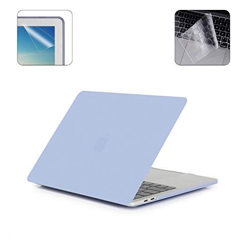i-Buy Hard Case Shell Compatible with 2019 2018 2017 2016 Macbook Pro 13 Inch with Touch Bar & Touch ID A2159 A1989 A1706 + Keyboard Cover + Screen Protector - Airy Blue