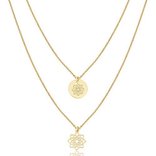 "JULES & GENTS Ankerkettenset 2-teilig\""#mandalapower Gold\"" 925/- Sterlingsilber, 2- teiliges Ketten Set in Gold mit jeweilis einem Mandala Blüten Symbol Anhänger"