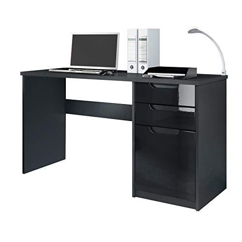 Vladon Schreibtisch Computertisch Büromöbel Logan, Korpus in Schwarz matt/Fronten in Schwarz Hochglanz