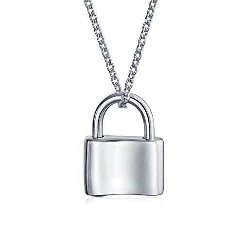 Functional Lock Pendant Charm Polished 925 Sterling Silver Engravable Necklace For Women Chain 16 Inches