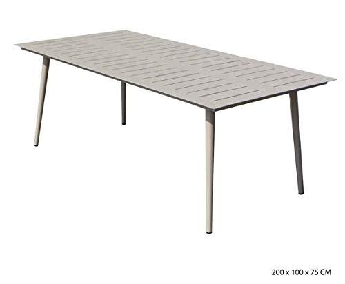 PEGANE Table rectangulaire en Aluminium Coloris Sable- 200 x 100 x 75 cm