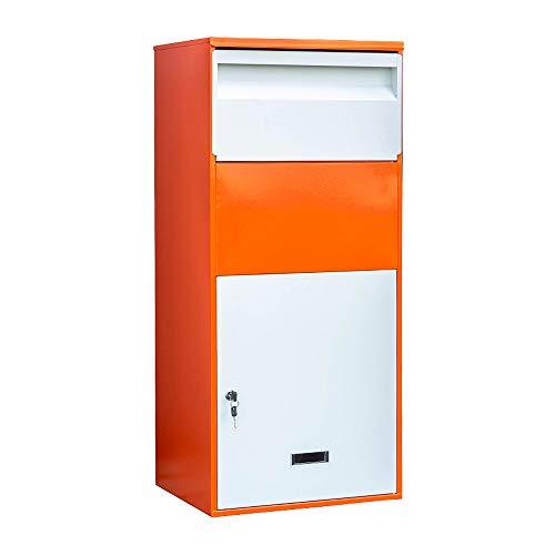 Caja De Correo Y Paquete Con Bloqueo De Montaje En Pared De Alta Capacidad, Negro / Naranja
